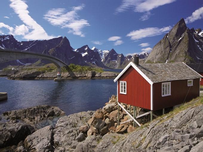 image Norvege iles lofoten paysage maison