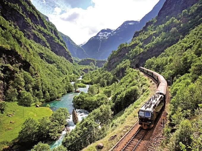 image Norvege train flam