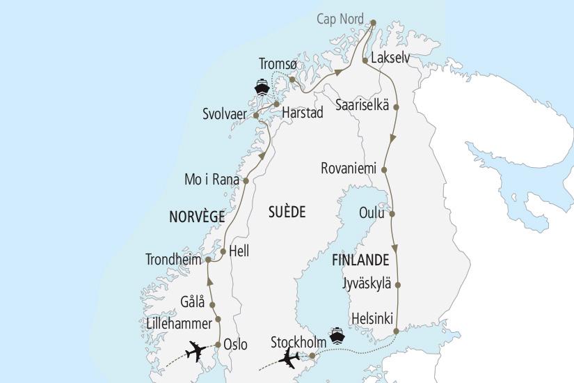 carte Norvege Finlande Suede Le Grand Tour de Scandinavie Nordiska 19_285 112041