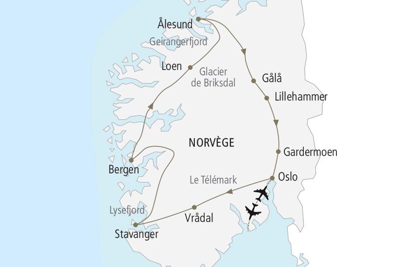 carte Norvege Le Grand Tour des Fjords Nordiska 19_285 794766