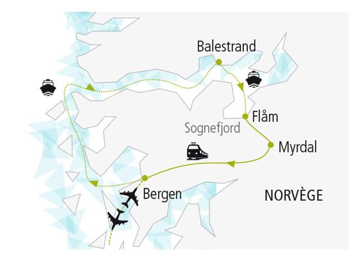 carte nordiska scandinavie circuit  Au Coeurs Fjords 612493