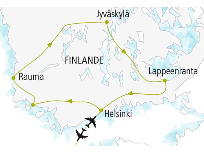 carte nordiska scandinavie circuit  Au Pays Mille Lacs 875910