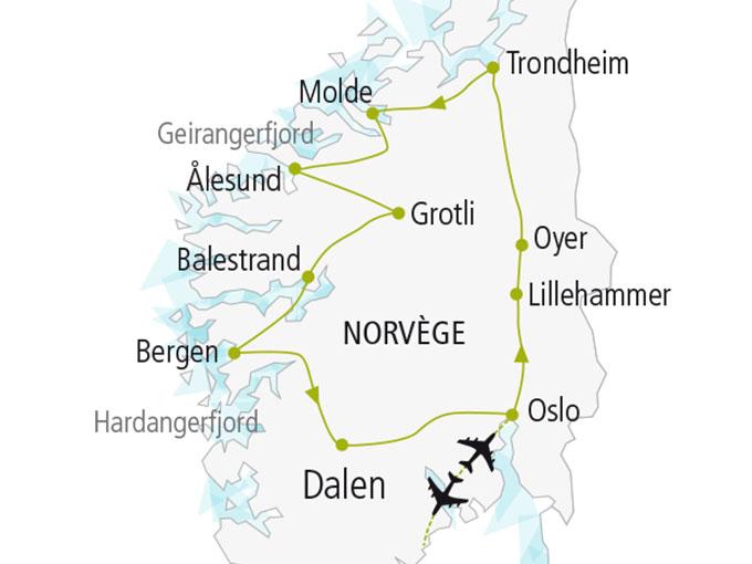 carte nordiska scandinavie circuit  Balade Norvegienne 247819
