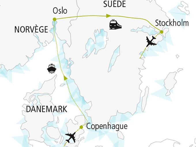 carte nordiska scandinavie circuit  Capitales Scandinaves 480319