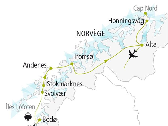 carte nordiska scandinavie circuit  Ile Lofoten Cap Nord 306463