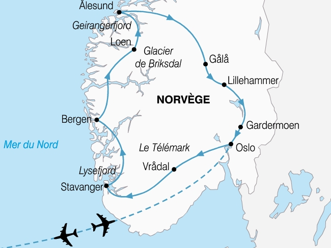 carte norvege grand tour fjords 495491