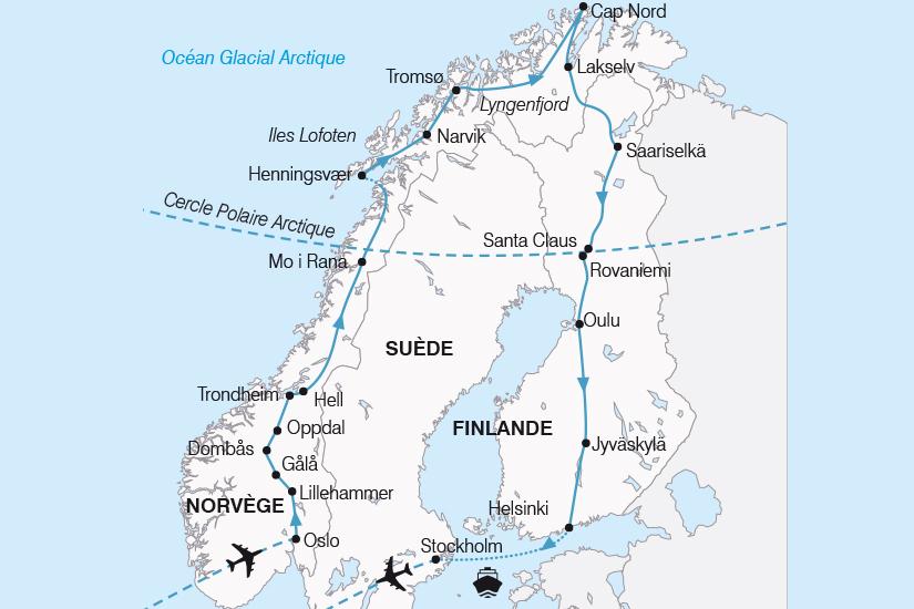 carte Norvege Finlande Suede Le Grand Tour de Scandinavie SH19 20_319 395314